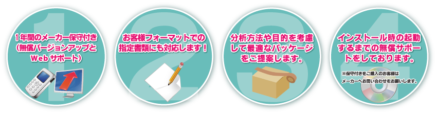 1年間のメーカー保守付き(無償バージョンアップとWebサポート) お客様フォーマットでの指定書類にも対応します! 分析方法や目的を考慮して最適なパッケージをご提案します。 インストール時の起動するまでの無償サポートをしております。